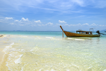 Long tail boat on a tropical island, Thailand Andaman sea. Stock Photo