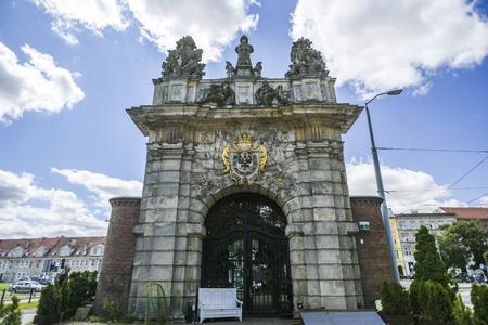 reloj de sol: Szczecin, Poland, July 17, 2017: Royal gate in Szczecin, historic building, sunny day