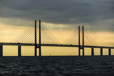 The bridge connecting Copenhagen and Malmo at sunset.