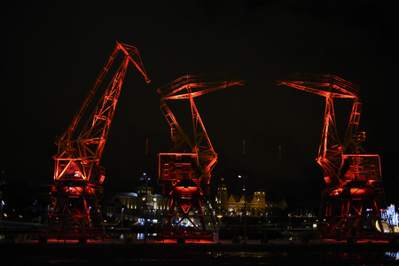 Highlighted cranes in Szczecin, a city monument.