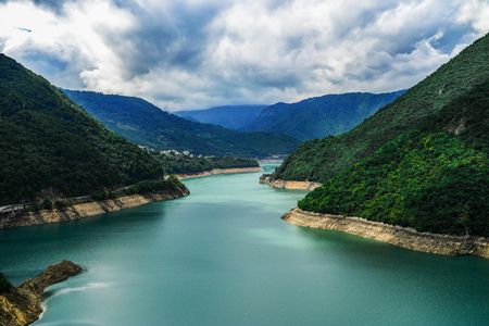 Piva river canyon in Montenegro, mountain landscape. Stock fotó