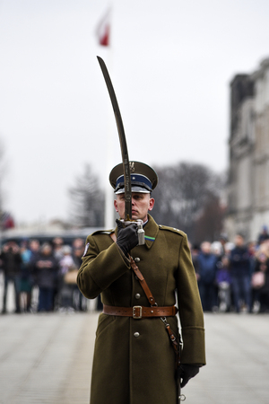 Warsaw, Poland, 17  february 2019: Polish soldiers during the changing of the guard at the grave of an unknown soldier.