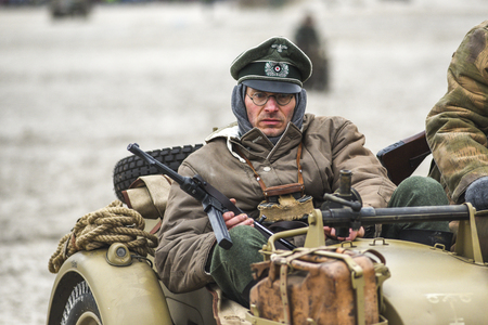 Kolobrzeg, Poland, 17 march 2019: German soldiers, Nazis during the reconstruction of the battle for Kolobrzeg.