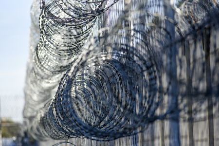 Barbed wire in prison, protecting prisoners from escaping.