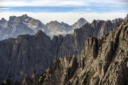 Landscape of Dolomites mountains in South Tyrol, Italy. Banco de Imagens