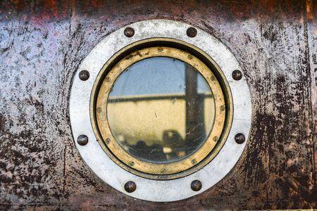 Metal window porthole on the ship. Stockfoto