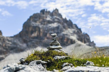 Mounds of pebbles in the Italian Dolomites. Mounds of pebbles in the Italian Dolomites.