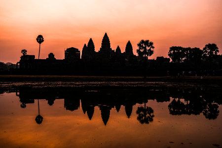 Angor Wat temple in Siem Reap, Cambodia at sunrise.