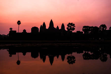 Angor Wat temple in Siem Reap, Cambodia at sunrise. Stock Photo