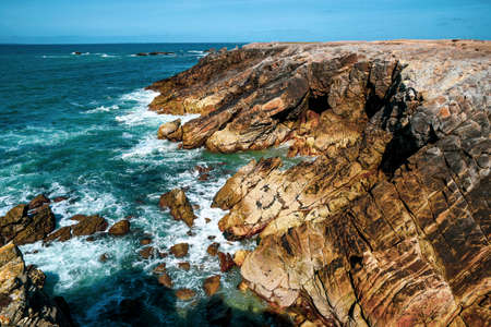 Geological rock formations on the Atlantic coast of France.