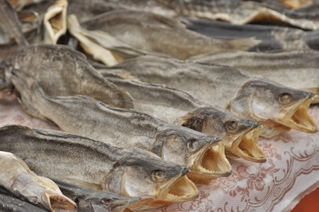 fish exhibition: Dried fish at the market. Delicacy, snack lakes Ukraine Stock Photo