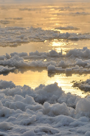 floe: Floe flowing river. The middle of winter. The riverbed. Low temperatures in frosty day