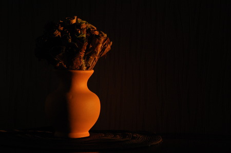 resembling: Jug with a bouquet of dried leaves resembling roses, lit the rising sun. Stock Photo