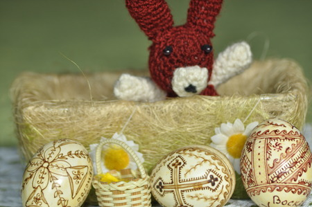 mass flowering: Easter. Symbols of Christmas. Rabbit, chicken and eggs. Willow twig. Stock Photo