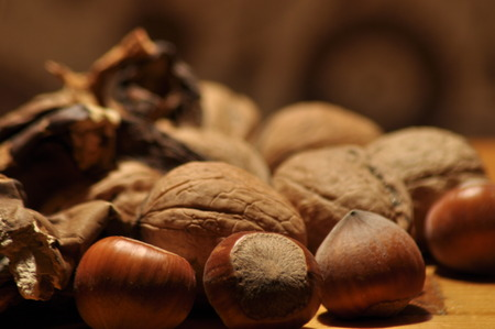 Dried mushrooms spilling from the container. Food ingredients. Forest fruits. Autumn harvest. Stock Photo