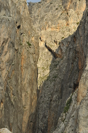 steep cliffs: Taurus Mountains. Turkey. Steep cliffs and gorge. Snow-capped peaks.