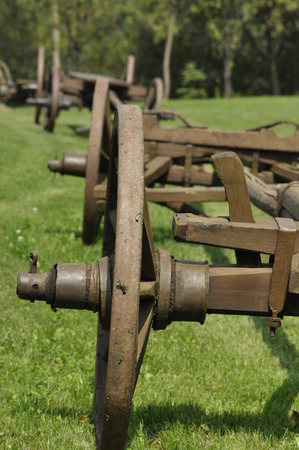 renovated: Wagon with wooden wheels. Museum, renovated monument. waggon-driving Stock Photo