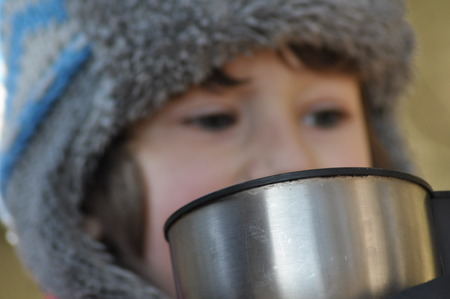 forest tea: The boy, the child in the forest. Fun in the fresh air. Drinking hot tea from a thermos