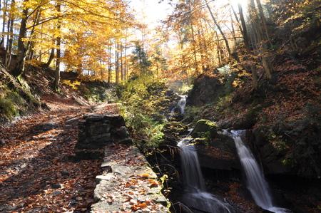 crystalline: Source Vistula. Crystalline stream, clean water and waterfall