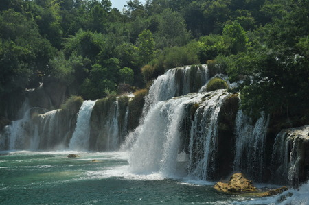 transience: Waterfalls in Krka National Park in Croatia. Strength and picturesque miracle of nature