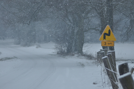 Road signs, the sign of the bend. Winding road. Slip by