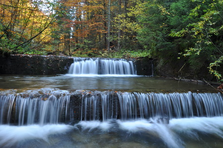 constancy: Source Vistula. Crystalline stream, clean water and waterfall