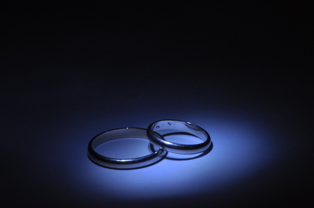 infatuation: Gold wedding rings. Certificate and a symbol of marriage. Relationship. Love and trust. Stock Photo