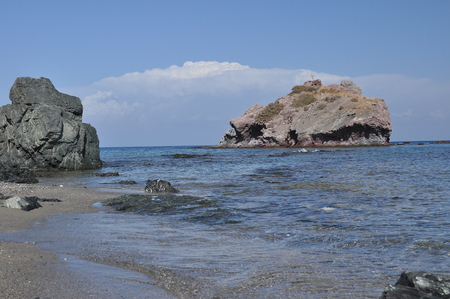 warm climate: Akamas National Park in Cyprus. View from the mountains to the blue lagoon and the crystal clear water