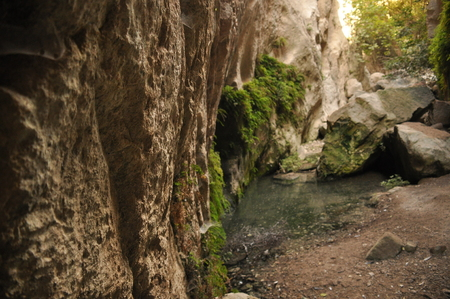 Gorge Avakas Cyprus. Rocks and high walls. Stock Photo