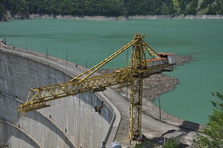 Dam on the Inguri River in Georgia. Dam reservoir Stock Photo