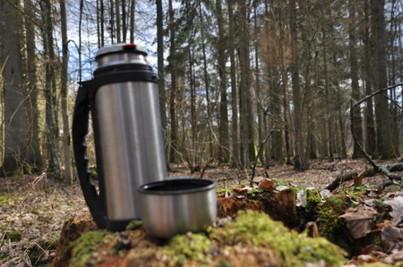 Hot tea in thermos for a walk in the woods while resting Stock Photo