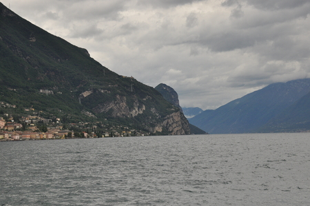ridge of wave: Rocky and high shores of Lake Garda in Italy