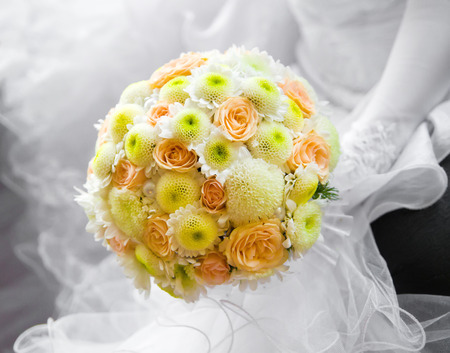 saturate: wedding saturate yellow rose bouquet Stock Photo
