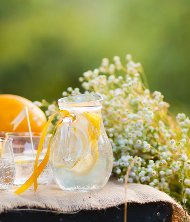 Summer cocktail with lemons served in the garden Stock Photo