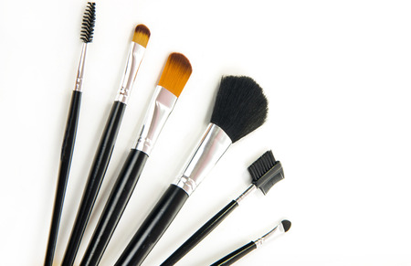 defining: different professional cosmetic brushes on white background