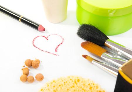 gold facial: Group decorative cosmetics for makeup. Still life.