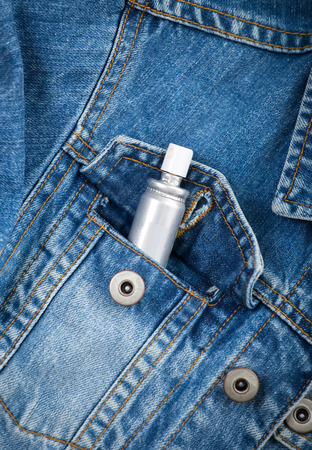 mouth cloth: Jeans pocket closeup with spray