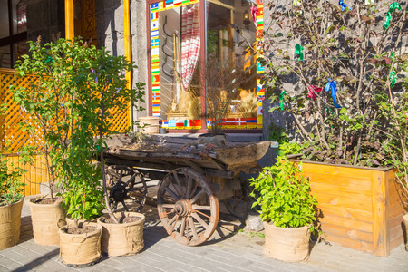 Cafe, restaurant with Vintage wooden coutryside cart style photo