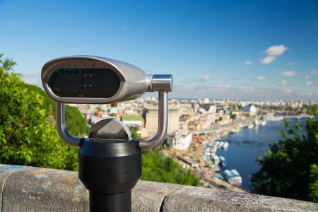 viewer: Coin Binocular City Viewer Stock Photo