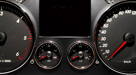 rev counter: Speedometer, tachometer and fuel gauge set  Stock Photo
