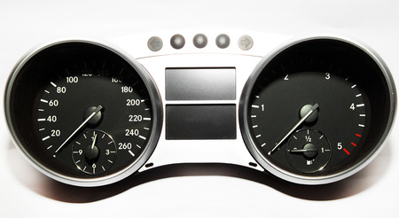 mileage: Speedometer, tachometer and fuel gauge set  Stock Photo