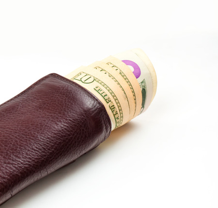 us paper currency: brown wallet with US Paper Currency on the white  Stock Photo