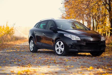 秋の公園近くの自然に車 写真素材