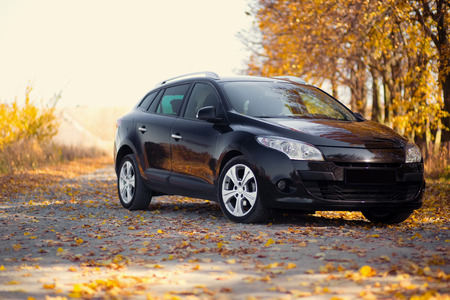 space weather tire: The car on the nature near autumn park Stock Photo
