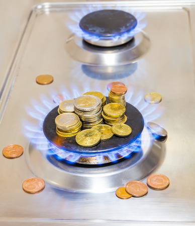 Blue flames of natural gas burning from a gas stove with euro coins photo
