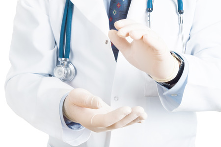 close up of male doctor holding something in his hand Standard-Bild