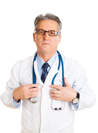 40 44 years: Doctor with stethoscope staying on white background