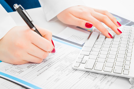 doctor writing: Doctor writing prescription. Selective focus