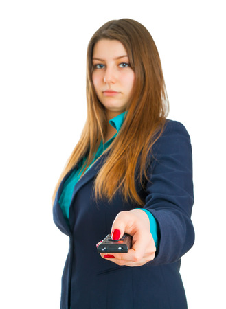 tv panel: Young business woman and remote control panel TV