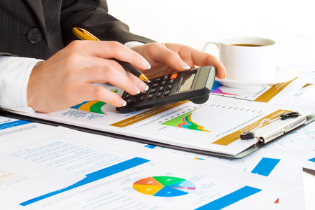blind woman: Accounting. Business woman hands in office Stock Photo